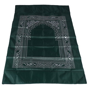 Image 2 - New Style Muslim Prayer Rug Polyester Portable Braided Mats Simply Print with Compass In Pouch Travel Home Mat Blanket 100*60cm
