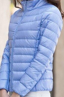 Женское зимнее пальто Новая мода 90% белый утиный пух куртка Сверхлегкий портативный тонкий пуховик женские зимние куртки парки - Цвет: Sky blue