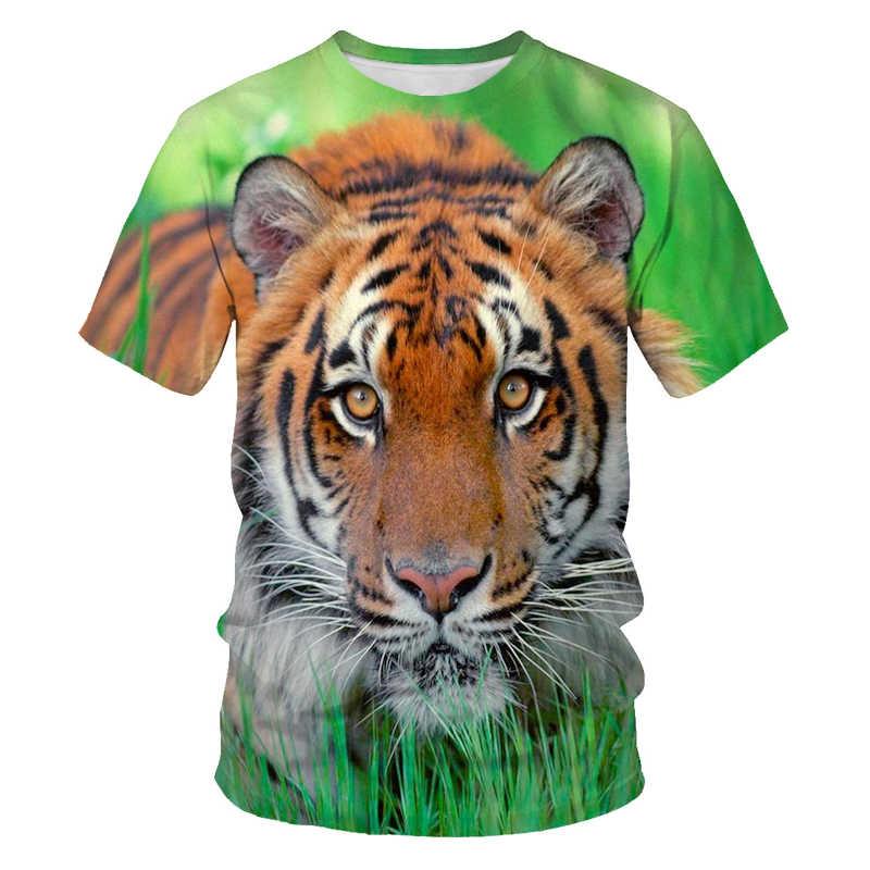 Degli uomini T-Shirt Animal Re della Giungla Leone di Stampa T-Shirt da Uomo Divertente T-Shirt Manica Corta O-Collo 3D Stampato vestiti di estate