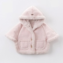Winter Baby Girls Jacket Soft Fur Lining Cloak Thick Warm Coat Hooded Toddler Kids Faux Fur Jackets And Coats Children Outerwear new winter girls fur coat elegant baby girl faux fur jackets and coats thick warm parka kids outerwear clothes girls coat