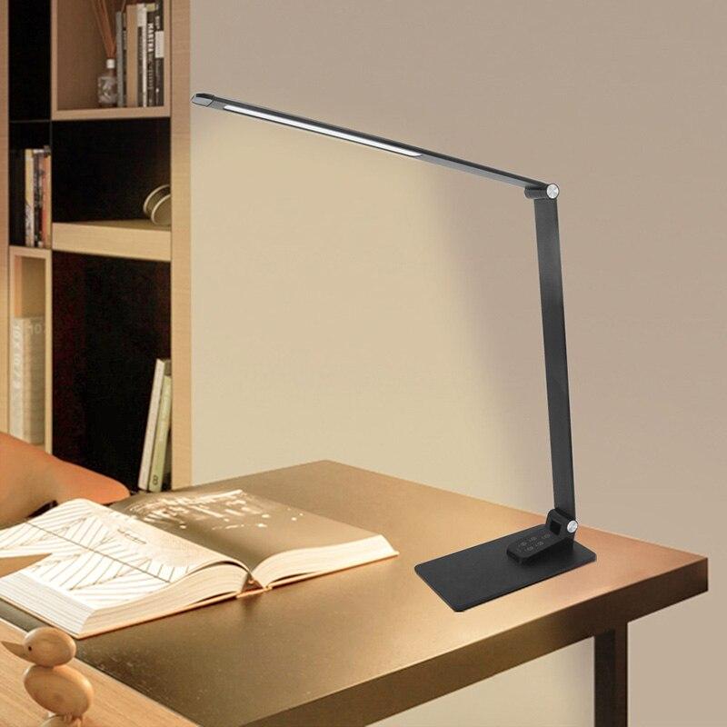 Ультратонкая Современная черная настольная лампа USB зарядка сенсорный диммер 30 уровневый светильник ing алюминиевый светодиодный светильник для книг для рабочего стола Кабинета офиса