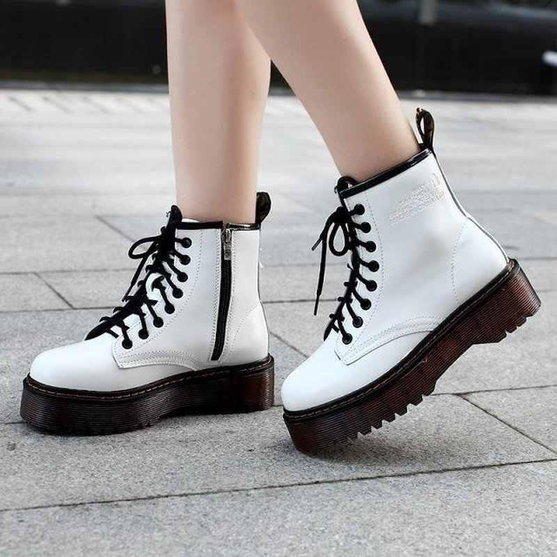 ผู้หญิงรองเท้า DR รองเท้าหนังคุณภาพสูงรองเท้ารถจักรยานยนต์รองเท้าฤดูใบไม้ร่วงฤดูหนาวผู้หญิง FUR Snow Botas mujer