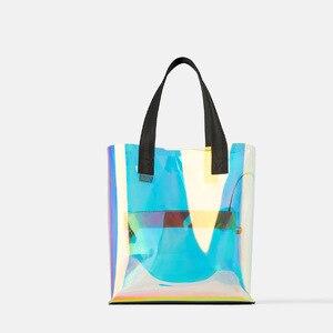 Image 5 - Lazer Hologram şeffaf çanta PVC şeffaf Tote çanta yeni moda büyük omuzdan askili çanta yaz plaj büyük kapasiteli alışveriş çantaları