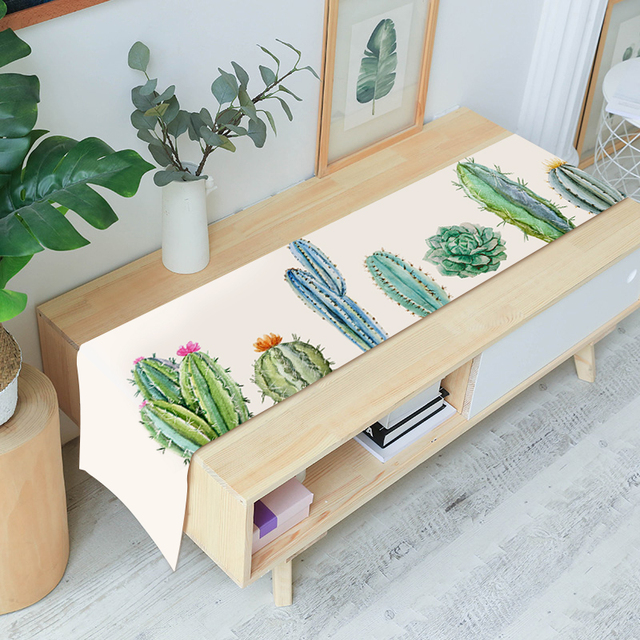 Modern Simple Style Table Runner Animal and Green Plants Printed Table Runner for Wedding Party Home Hotel Bed Flag Tail Towel