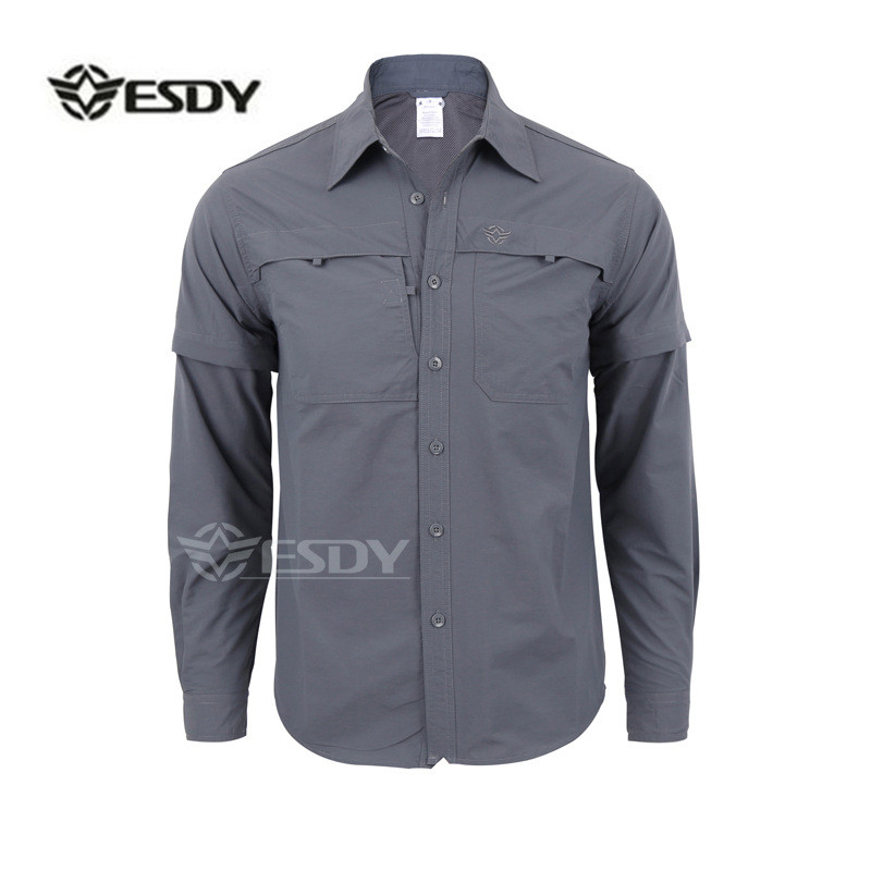 Мужская быстросохнущая рубашка на открытом воздухе Съемная с длинным/коротким рукавом дышащая походная Военная Маскировочная рубашка Спортивная одежда