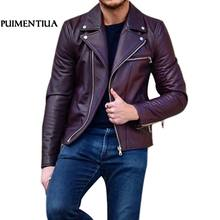 SHUJIN Leather Jacket For Men Fitness Motorcycle Jacket Zipper Casual Leather Coat Male Outerwear Clothing SHUJIN FF(China)