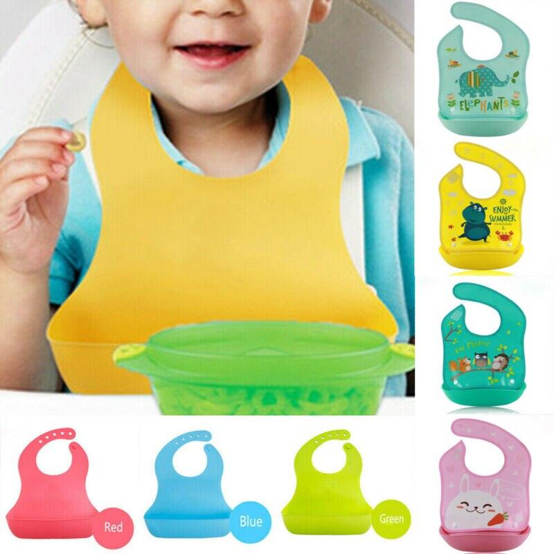 Baby Stuff Waterproof Silicone Bib Feeding Food Catcher Baby Newborn Cartoon Aprons Adjustable Baby Bibs Cloths Bandana Bibs