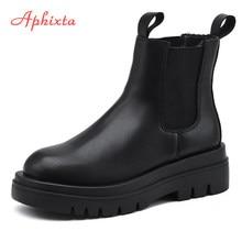 Aphixta plus grande szie 42 43 botas femininas elástico 5cm robusto calcanhar antiderrapante moda plataforma tornozelo botas sapatos mulher barcos