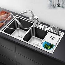 3 pia da cozinha do intestino 304 de aço inoxidável 1.2 milímetros de espessura pias da cozinha com lata de lixo acima do contador ou udermount pias da cozinha