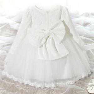 Платье с длинными рукавами для новорожденных девочек платье на крестины, платье принцессы вечерние костюмы для детей 12 мес.-24 мес. От 1 до 2 ле...