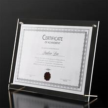 Photo Frame Business License Display Stand Crystal Plexiglass A4 Certificate Holder