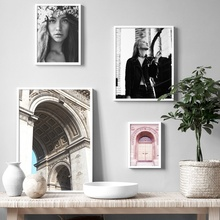 Flower Nordic Architecture Girl Wall Art Canvas Painting Posters And Prints Picture For Living Room