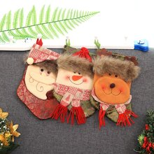 Christmas Sock Candy Bag Cartoon Decor Non-woven Fabric Christmas Gift Pouch