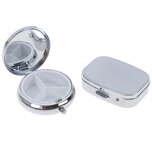 1Pc Small Metal Round Rectangular Pill Cases Splitters Silver Tablet Pill Box Container Medicine Case  Metal Holder Medicine