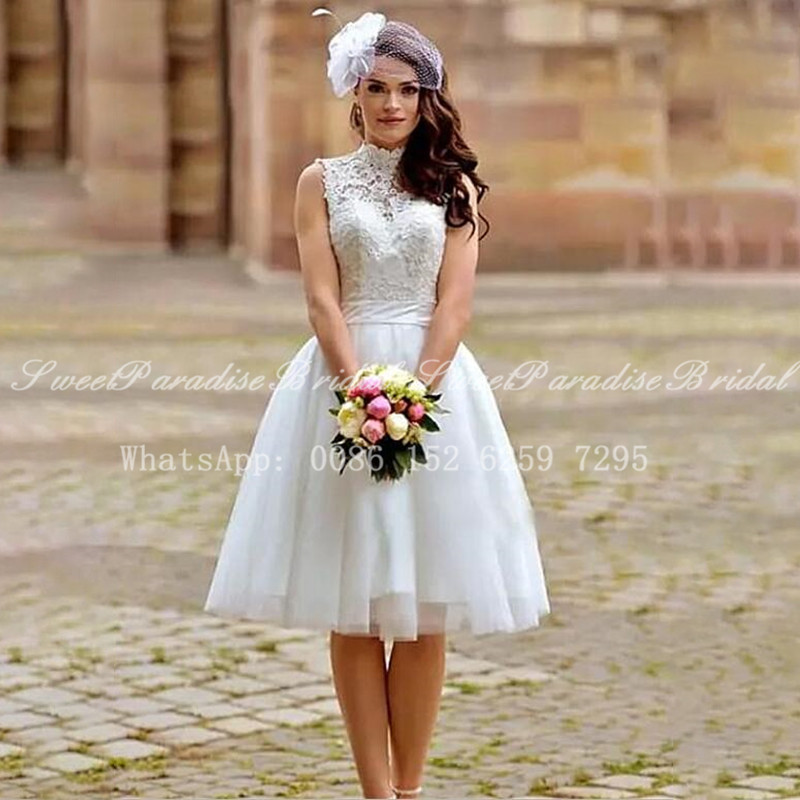 Bohemia Beach Short Wedding Dress 8 Women Open Back White Lace Top and  Tulle Skirt A Line High Neck Bridal Dresses Gown