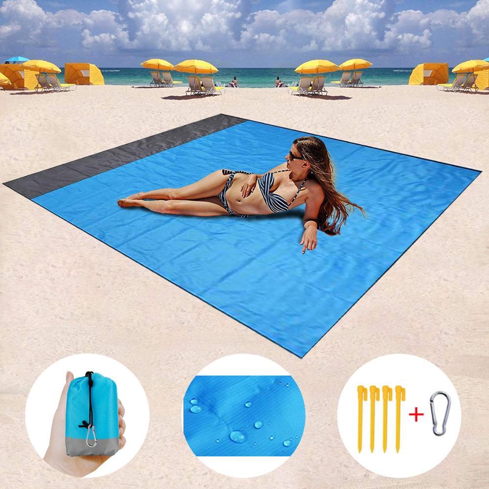 2M*1.4M Waterproof Beach Blanket Outdoor Portable Picnic Mat Camping Ground Mat Mattress Camping  Camping Bed  Sleeping Pad