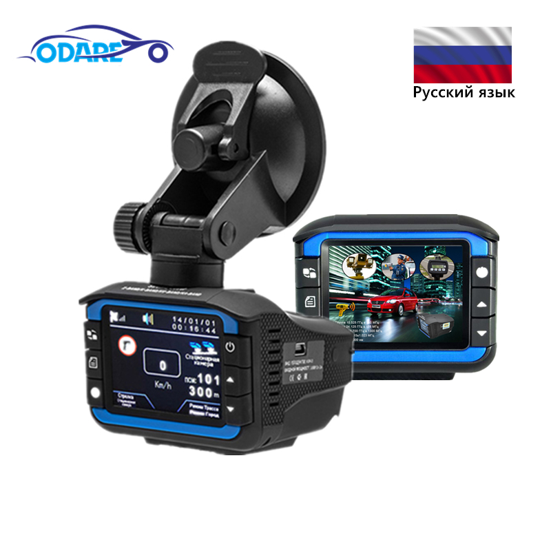 Odare 3 in 1 Car DVR Dash Cam Radar Detector gps 140 Degree Angle Multi car dvrs Camera HD 720P Russian Voice Video Recorder