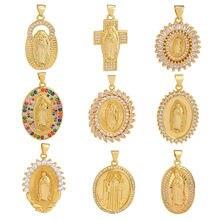 Juya-Suministros de joyería religiosa DIY, colgante de oro hecho a mano con Cruz de la Virgen María, santo Jesús, para la creación de joyas de oración cristianas