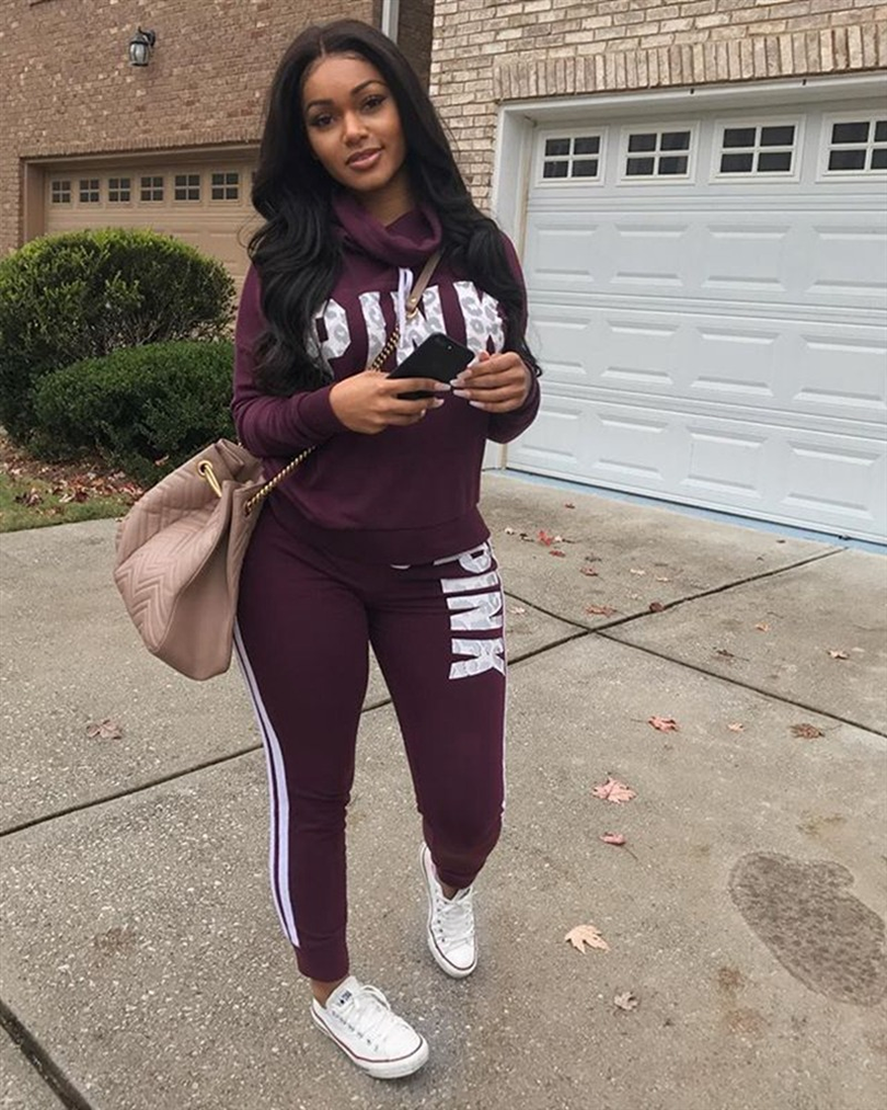 Hot Letters 2 Piece Set Women Pant And Top Autumn Plus Size Casual Outfit Sweat Suits Two Piece Sweatshirt Tracksuit
