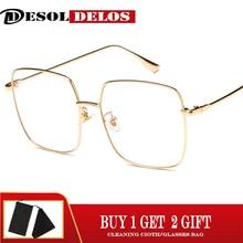 Luxury Women Square Eyeglasses Vintage Glasses Optical Frame Gold Metal Unisex Spectacles Clear Lens Blue Light