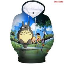 Totoro Studio Ghibli bluzy bluza bluza z kapturem damska i męska Hayao Miyazaki Spirit Away sweter modny kostium dres topy męskie tanie tanio WGTD WISH CN (pochodzenie) Pełna Na co dzień Stałe REGULAR 0Totoro259 Brak STANDARD Poliester NONE 3D Hoodies aesthetics hoodie