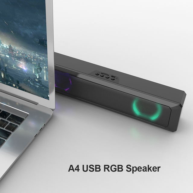 A4 6W RGB USB Wired Powerful Computer Speaker Bar Stereo Subwoofer Bass speaker Surround Sound Box for PC Theater TV Speaker 6