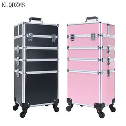 KLQDZMS  Trolley Cosmetic Case profession suitcase for makeup Woman Luggage travel Cosmetic Bag Wheels