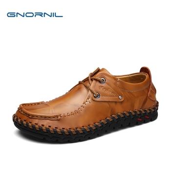 GNORNIL Luxury Brand Genuine Leather Mens Business Shoes 2020 Fashion Non-Slip Rubber Men Shoes Comfortable Soft Sole Men Flats tanie i dobre opinie Prawdziwej skóry Skóra bydlęca 9971 Lace-up Pasuje prawda na wymiar weź swój normalny rozmiar Podstawowe Stałe Dla dorosłych