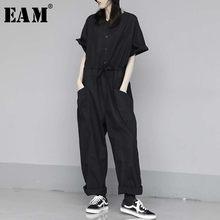 EAM – combinaison noire longue pour femmes, pantalon ample, grande taille, taille haute, avec poches, à la mode, 1W284, nouvelle collection printemps automne 2021