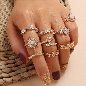 LETAPI 9 шт./компл., золотой цвет, модный, Змеиный лист, звезда, геометрический кристалл, кольцо на палец, набор, Очаровательная вечеринка, свадьб...