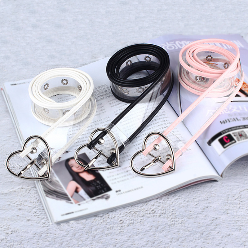 New Design Women Transparent Belt Heart Round Square Metal Pin Buckle Waist Dress Jeans White Fashion Waistband Straps Z40