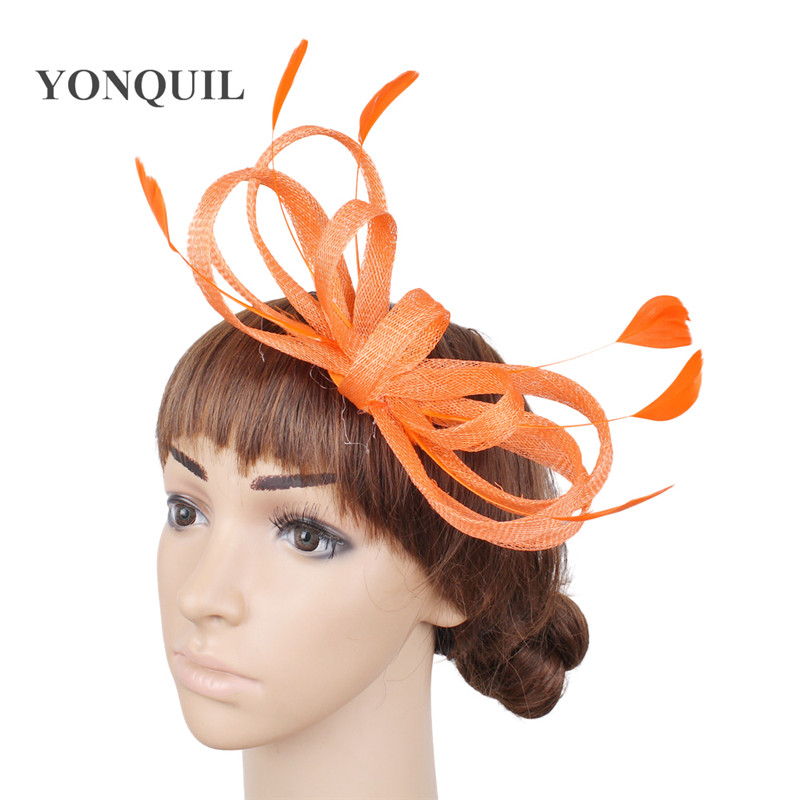 Bow Hair Wedding Fascinators Accessories Bride Mariage Headwear Women Elegnt Party Dinner Headdress Hair Pin Feather Hat Chapeau