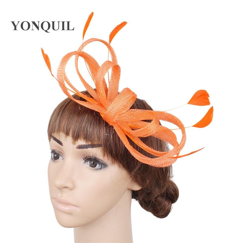 Bow Hair Wedding Fascinators Accessories Bride Mariage Headwear Women Elegnt Party Dinner Headdress Hair Pin Feather Hat Chapeau