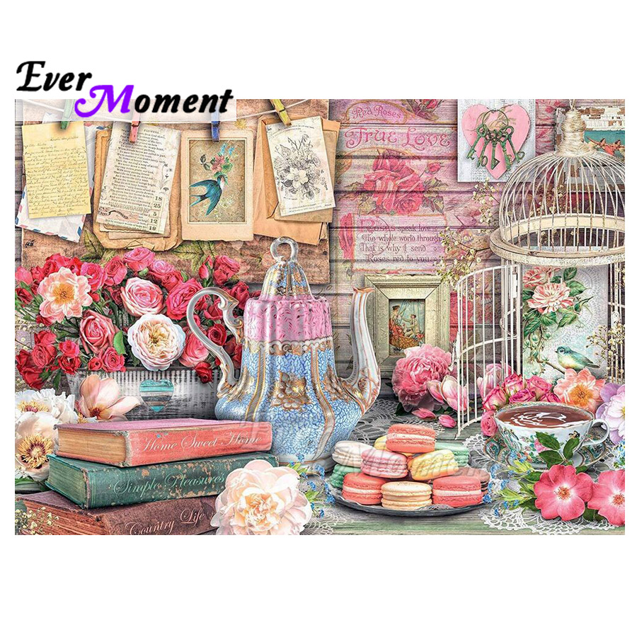 Ever Moment Diamond Painting Decoration For Home Desert Cake Pot Flower Cage 5D DIY Diamond Embroidery Bead Artwork ASF1756