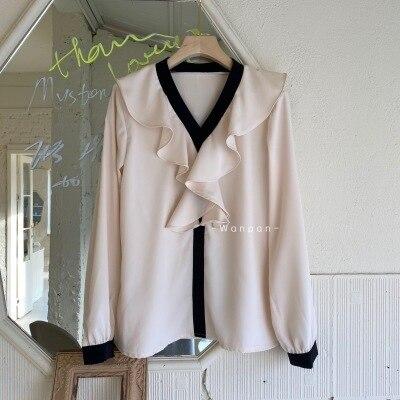 Autumn Korean Chiffon Women Blouses Shirts Long Sleeve V-neck Ruffles Elegant Tops Fashion Office Ladies Blusas Mujer
