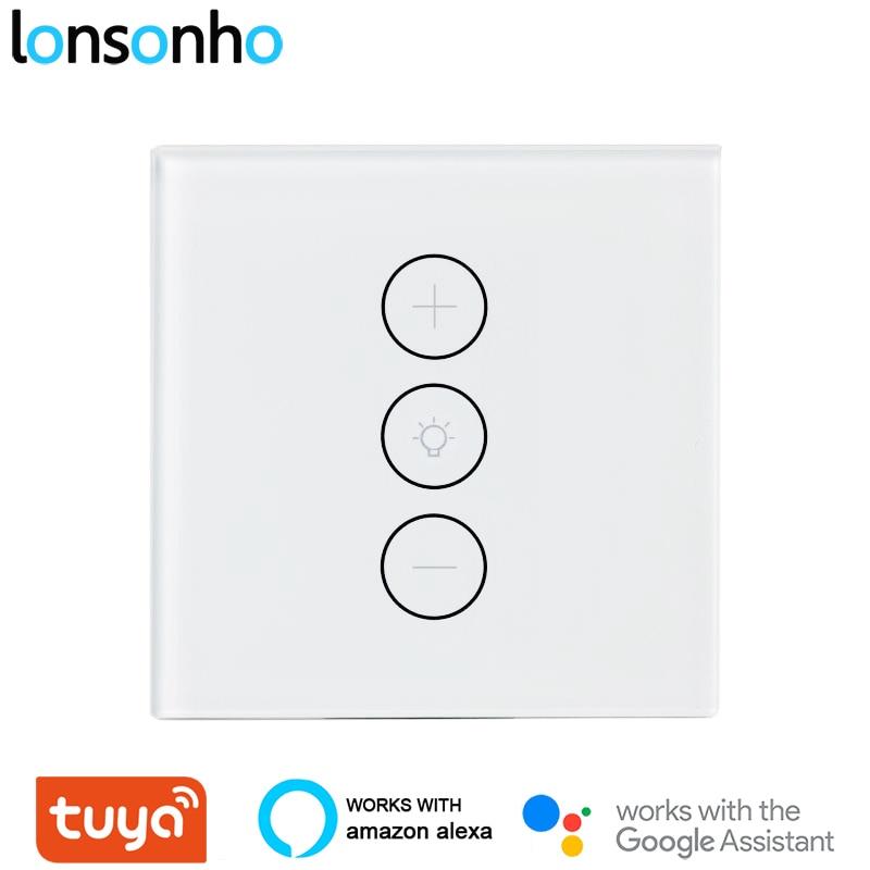 Interruptor de Luz do Painel Toque da ue Funciona com Alexa Lonsonho Tuya Inteligente Dimmer Eua Lâmpada Vida App Google Casa wi fi