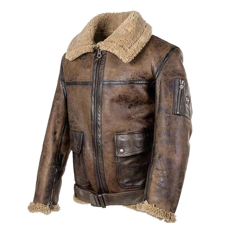 New Fashion Men Motorcycle PU Coat Autumn Winter Leather Jacket Fake Fur Collar Zipper   Outerwear Male Clothing