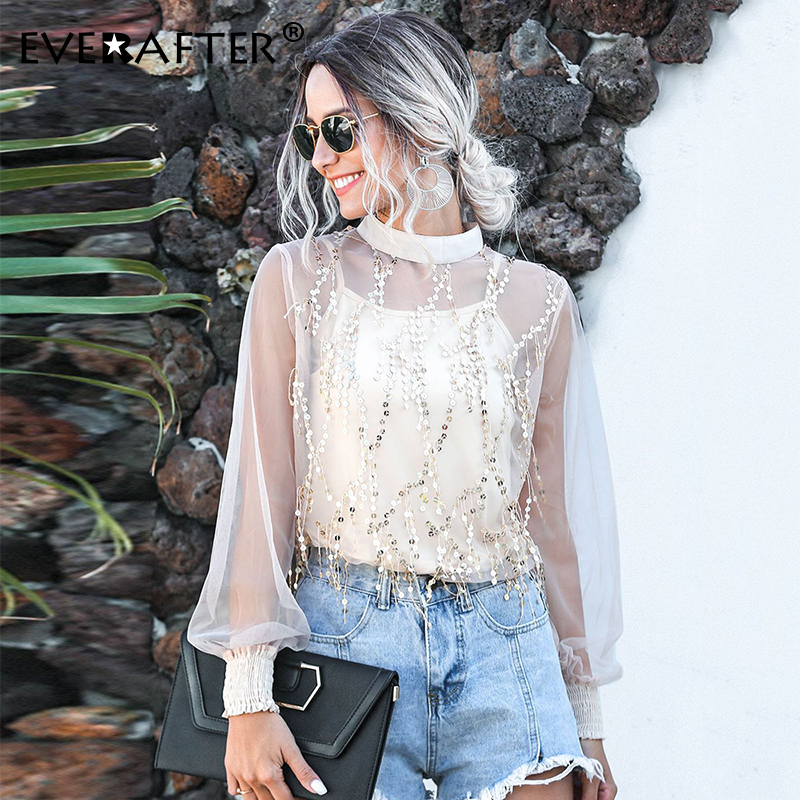 EVERAFTER Sexy Lace Sequins Blouse Women Lantern Sleeve Tassel Perspective Two-piece 2020 Spring Summer Elegant Female Shirt Top