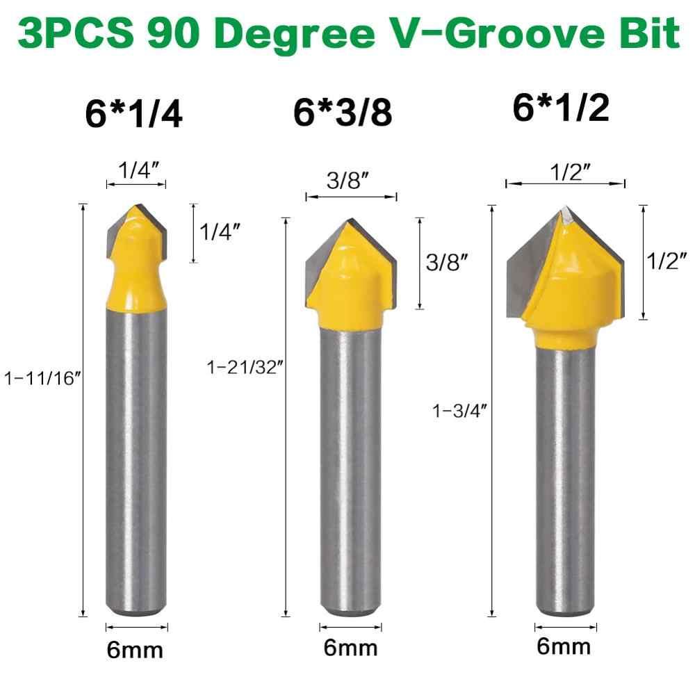 6PC 6 Mm Vỏ Router Bit Bộ Core Box Bit Rounf Bít Mũi 90 Độ V-Groove Bit cho Dụng Cụ Làm Rau Cau