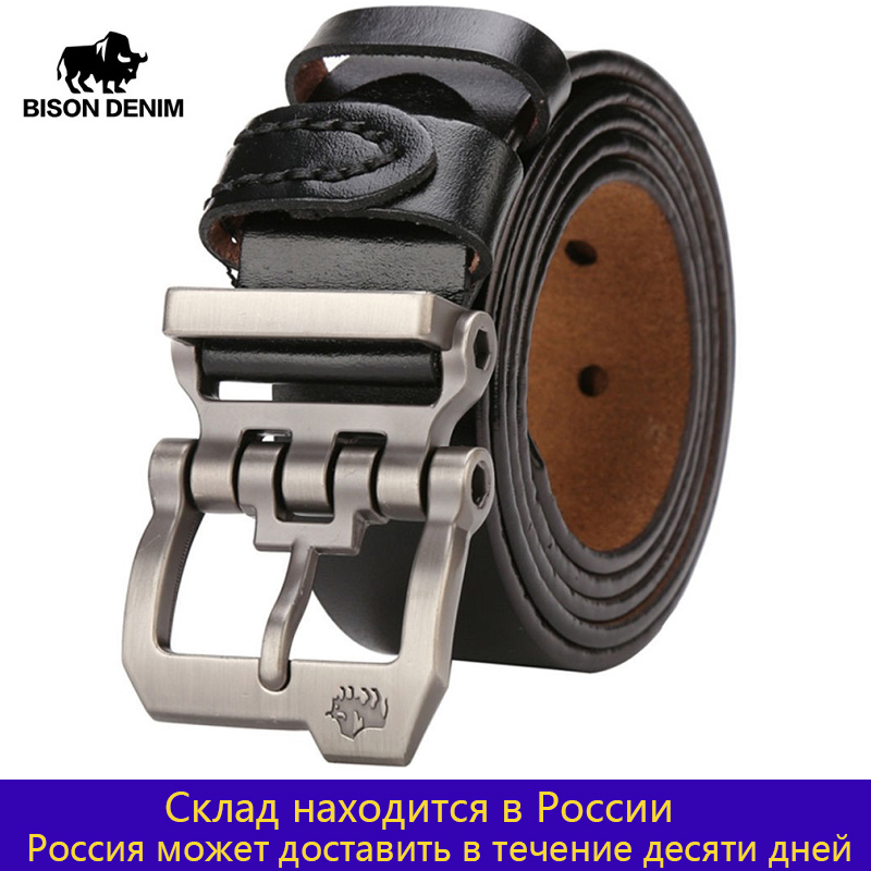 Men Belt Jeans Strap Brown Cowskin Vintage Male Personality Genuine-Leather Bison Denim
