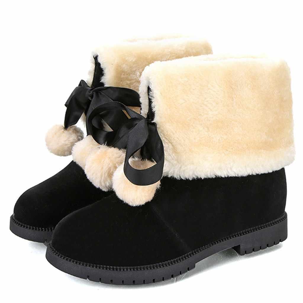 Sıcak kürk peluş astarı kış çizmeler bayan dantel-up ayak bileği çıplak çizmeler kare topuk rahat kısa tüp isıtıcı yürüyüş kar botları