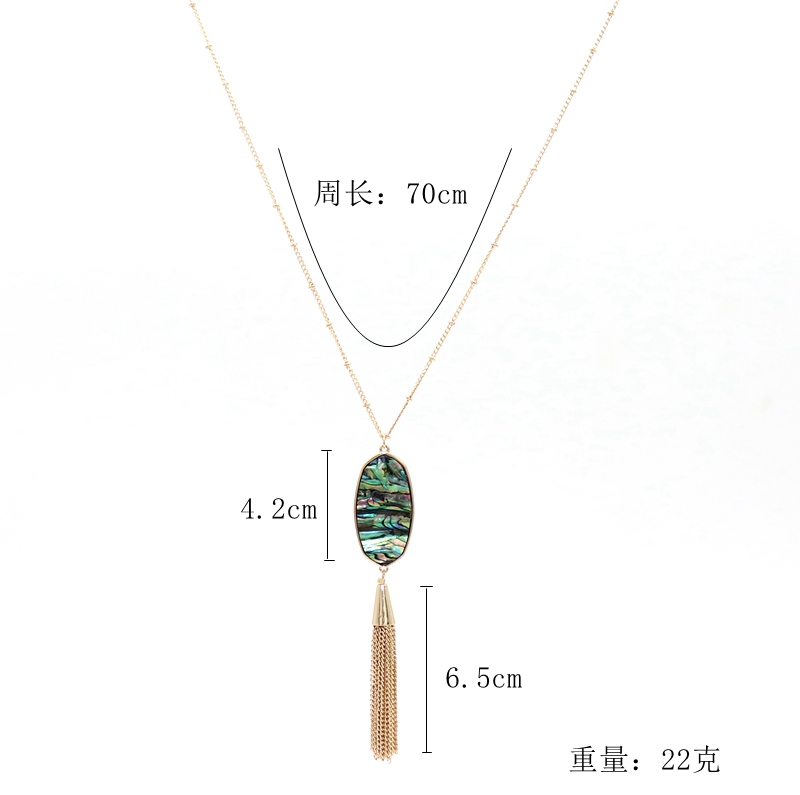 SEDmart Colorful Natural Abalone Shell Tassel Necklace Gold Color Long Chain Bohemia Pendant Necklaces for Women Fashion Girls in Pendant Necklaces from Jewelry Accessories