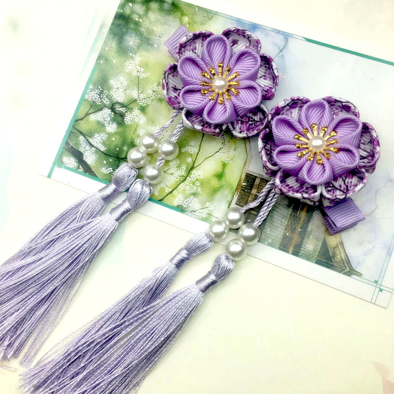2 pçs maru-tsumami kanzashi flor borlas sakura