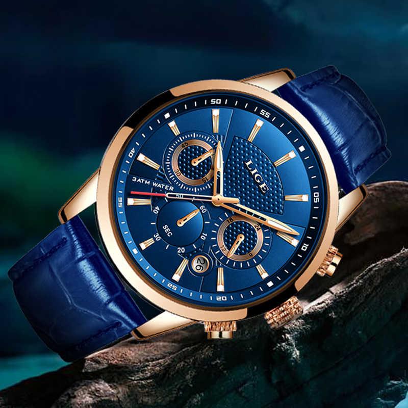 LIGE 2019 nouvelle montre hommes mode Sport Quartz horloge hommes montres marque de luxe en cuir affaires étanche montre Relogio Masculino