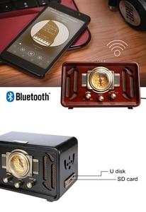 Image 4 - רטרו עץ HIFI רדיו AM/FM 2x5W רמקולים שולחניים רוטרי כוונון תמיכת Bluetooth U דיסק SD כרטיס משחק