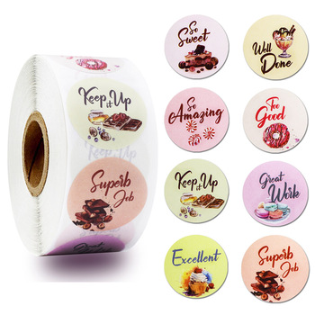 500 Pcs Reward and Motivation Stickers Rolls with 8 Different Designs 'Candy and Sweets Theme' for Handmade Packaging Stickers c e weyse theme and variations