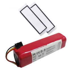 -Rechargeable for Xiaomi Mijia Robot Battery + 2Pcs HEPA Filter 14.4V 5600MAh Robot Vacuum Cleaner Accessories Parts