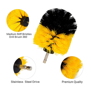 Image 5 - 3Pcs Round Full Electric Bristle Drill Brush Rotary Cleaning Tool Set Scrubber Cleaning Tool Brushes Car Wash Tool