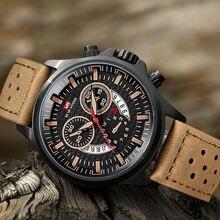 Мужские водонепроницаемые кварцевые часы с календарем и кожаным