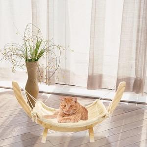 Image 2 - CAWAYI CANILE In Legno Pet Gatto Amaca Letto Nido per I Gatti Altalena per Piccoli Animali cama gatocama para productos para mascotas d1559